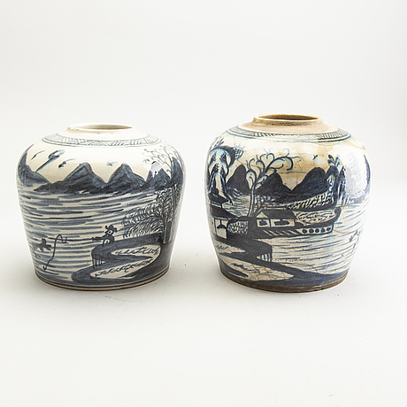 Two blue and white jars, persia, 19th century.