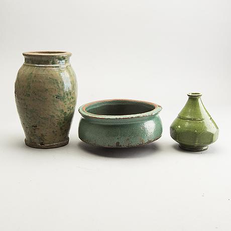 A group of green glazed oriental ceramics, circa 1900.