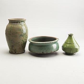 A group of green glazed oriental ceramics, circa 1900.
