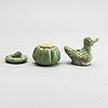 A green and yellow glazed water dropper, a box with cover and an extra cover. ming dynasty (1368-1644).