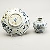 A blue and white jar, ming dynasty (1368-1644) and a persian ming style dish, 18th century.