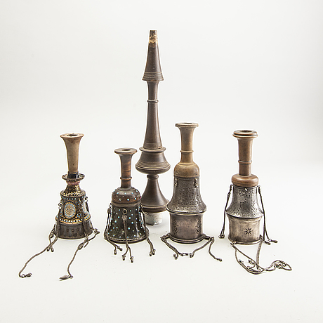 A set of four persian wooden and metal galianparts and a wooden part for the pipe, circa 1900.