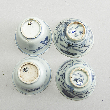A set of four blue and white cups, ming dynasty (1368-1644).