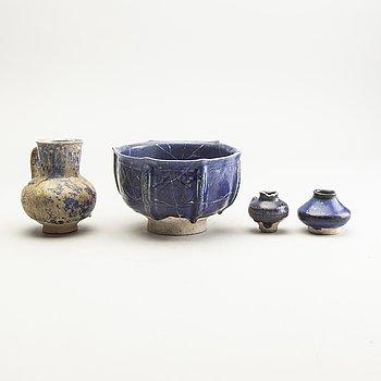 A group of lapiz lazuli blue ceramics, Persia, possibly 12th/14th Century.