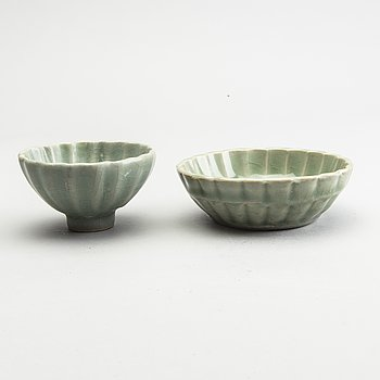 A celadonglazed bowl and dish, Ming dynasty (1368-1644).