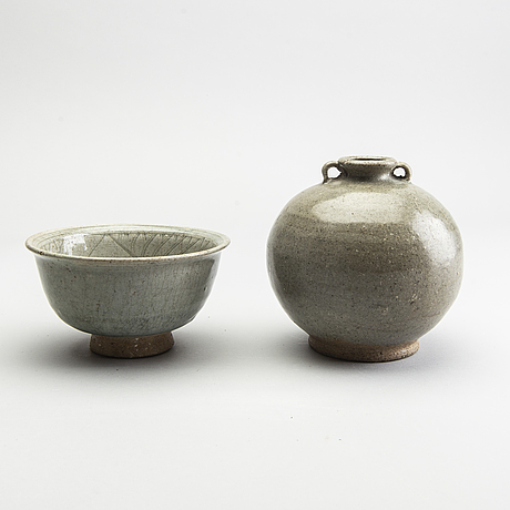 A vase and a celadon bowl, south east asia, presumably sukothai, 14th/16th century.