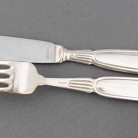 "A 20th cetury silver plate 117-pcs ""romantik"" flatware service for 12, design gunnar nylund, sweden, mema."