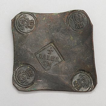 A Swedish copper plate coin, 2 1/2 Daler, King Karl XII, 1715.