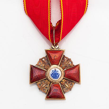 Pyhän annan ritarikunnan ansiomitali 3 luokka, 14k kultaa, emalia. pietari.