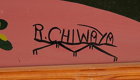 Rajabu chiwaya, oil on board, signed.