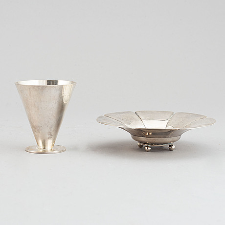 Wiwen nilsson, a silver bowl and a vodka cup, lund 1923 and 1971.