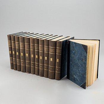 """Books, twelve volumes  """"Karolinska krigares dagböcker"""",  A. Quennerstedt. I-XII. Lund 1901-18."""