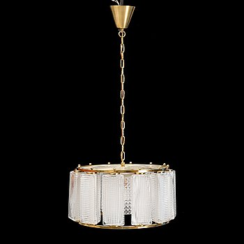 A glass and brass ceiling lamp, for Orrefors.