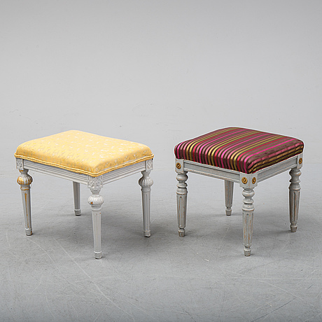 Two gustavian style stools, 19/20th century stools.