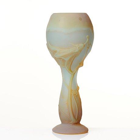 Daum, an art nouveau mould blown soufflé glass vase, nancy, france.