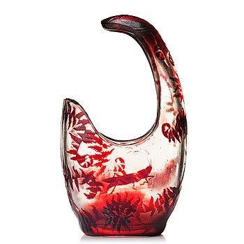 38. Emile Gallé, an asymmetrical Art Nouveau fire polished cameo glass vase, Nancy, France.
