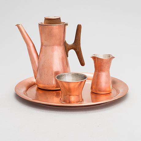 Tapio wirkkala, a 4-piece coffee set in copper and teak, kultakeskus, finland.