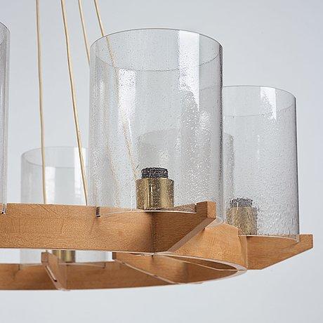 Hans-agne jakobsson, an oak six lights ceiling lamp, hans agne jakobsson markaryd, sweden probably 1960's.