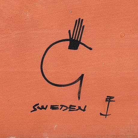 Stig lindberg, a faience wall plaque, gustavsberg studio, sweden 1950's, ed. 1/40.