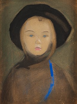 """664. Helene Schjerfbeck, """"Girl with Blue Ribbon""""."""