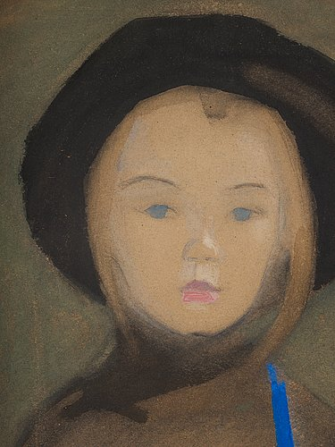 """Helene schjerfbeck, """"girl with blue ribbon""""."""