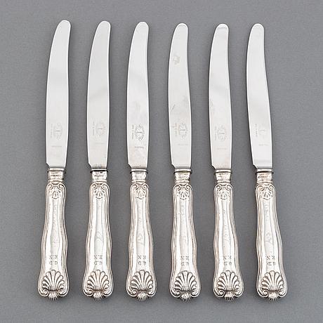 Six swedish silver table knives, 'snäck', mark of gustaf dahlgren, malmö 1848.