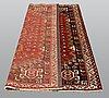 A carpet, figural kashgai, ca 258 x 163 cm.