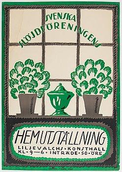 Wilhelm Kåge, a vintage lithographic poster, 'Svenska SlöjdföreningenHemutställning', Rokotryck, A.-B. Kopia, 1917.