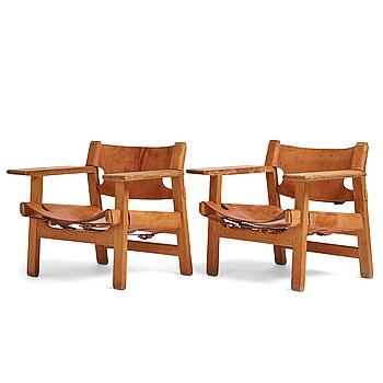 """408. Børge Mogensen, a pair of oak and natural leather """"Spanish Chair"""", model 226, Fredericia Stolefabrik, Denmark."""
