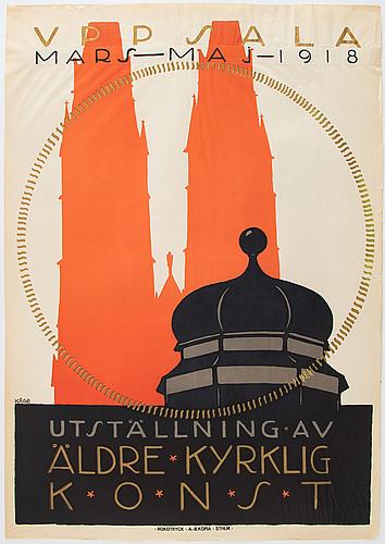 Wilhelm kåge, a vintage lithographic poster, 'utställning av äldre kyrklig konst', rokotryck, a.-b. kopia, 1918.