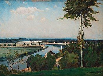 604. Carl Fredrik Hill, Trädet och flodkröken (The tree and the river bend, landscape from Bois-le-Roi/Brolles, France).