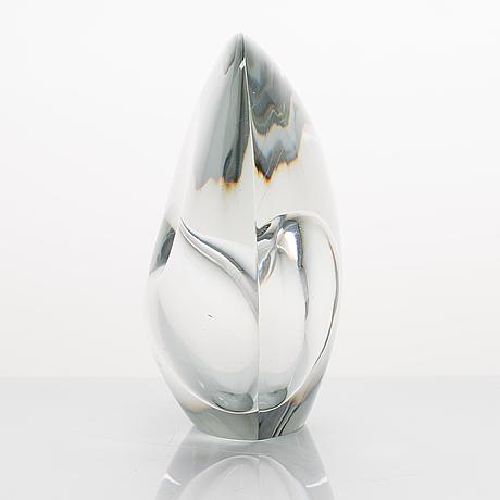 Timo sarpaneva, a 3567 'sitting bird' glass sculpture, signed  timo sarpaneva iittala.