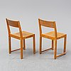 Six birch chairs by sven markelius, mid 20th century.