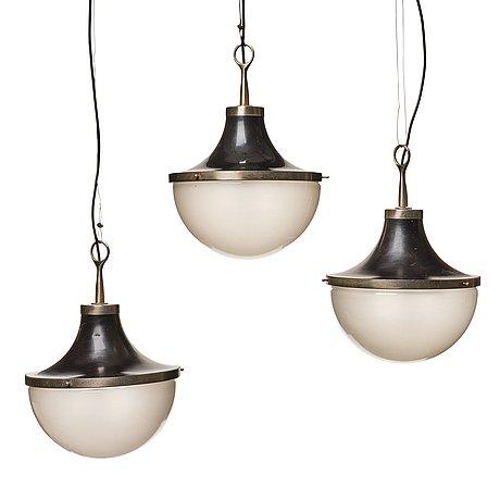 "Sergio mazza, 3 ceiling lamps, ""pi cavo"", artemide, italy 1960's."