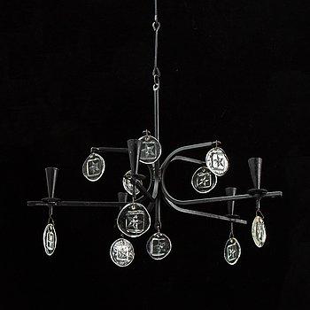 Erik Höglund, chandelier Boda wrought iron, 1970's.
