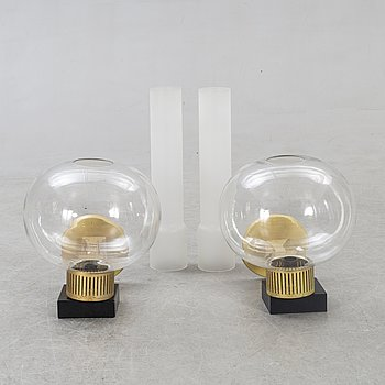 Wall lamps, a pair, 1930s-40s.