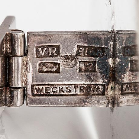 Björn weckström, a pair of silver cufflincs with high quartzes. kultasepänliike reinikka & laine, helsinki 1962.