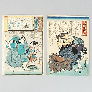 Utagawa Kuniyoshi and Kunisada, two coloured woodblock prints, Japan, 19th century.