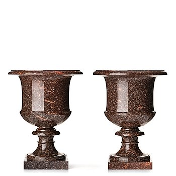 121. A pair if Swedish porphyry urns, late Gusavian early 19th century.