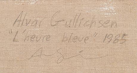 Alvar gullichsen, olja på duk, a tergo signerad och daterad 1985.