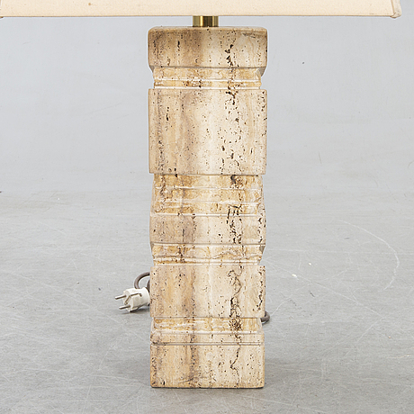 A 1970s travertine table lamp.