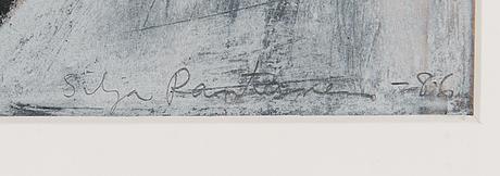 Silja rantanen, blandteknik på papper, signerad och daterad -86.