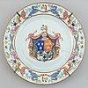 Three armorial dinner plate, qing dynasty, qianlong (1736-95).