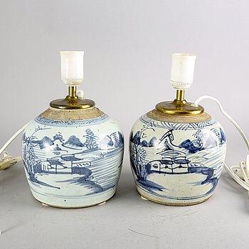 A set of two Chinese porcelain 19th century table lamps.
