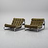 A pair of 'impala' lounge chairs with table by gillis lundgren for ikea, released 1972.
