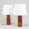A pair of table lamps, gustav leek, orrefors.