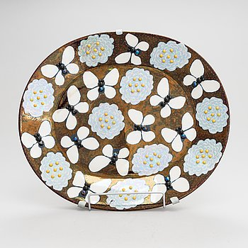 Birger Kaipiainen, A 'Butterfly' Ceramic plate by Birger Kaipiainen for Arabia Art in 1982, signed and numbered 49/300.