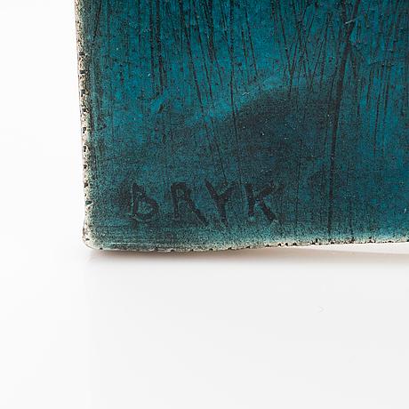 Rut bryk, a ceramic relief signed bryk ii.