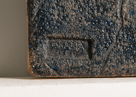 Francesca mascitti-lindh,, a stoneware relief, signed f. lindh arabia.