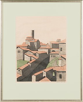 Allan Salo, wood cut, signed and dated 1952.